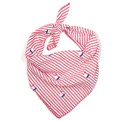 The Worthy Dog Red and White Stripe Seersucker with Embroidered Blue Sailboats Pattern Designer Tie On Bandana for Pet Dog Cat 21958-4288SM