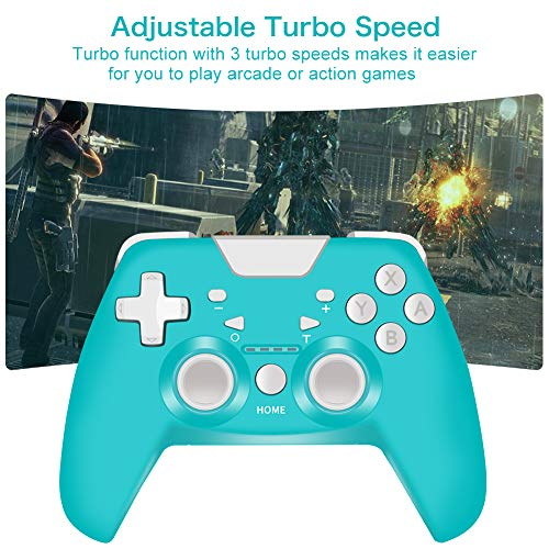 Wireless Controller for Nintendo Switch, RegeMoudal 500mAh Turquoise Switch Controller Gamepad Remote Joystick, Supports 6-Axis Somatosensory Dual Vibration Turbo Function