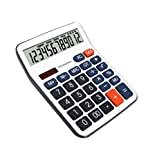 OFFIDIX Standard Function Desktop Calculator, Desk Large Key Calculator, Dual Power Electronic Calculator Portable 12 Digit Large Display Calculator (Battery Included)