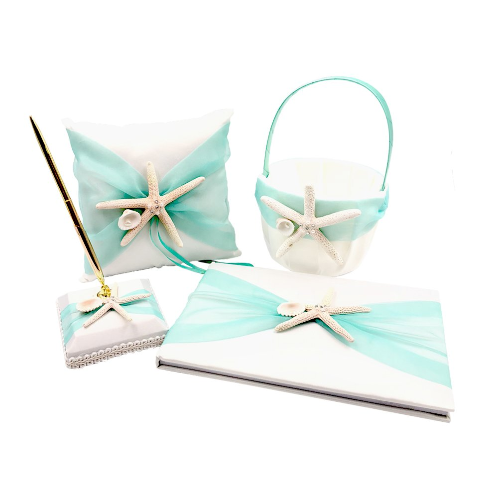 Abbie Home Organza Bowknot Wedding Guest Book + Pen + Pen Stand + Ring Pillow + Flower Basket Set Romantic Beach Wedding Party Favor (Green) by Abbie Home