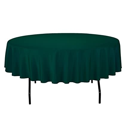 Nice LinenTablecloth 90 Inch Round Polyester Tablecloth Hunter Green