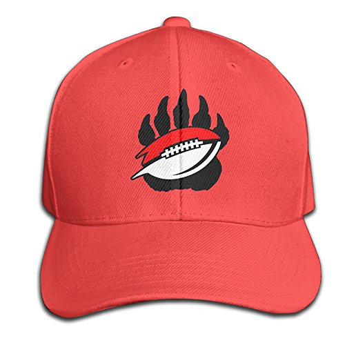 Bear Paw And Football Black Adjustable Hat Pure Peaked Cap   Red