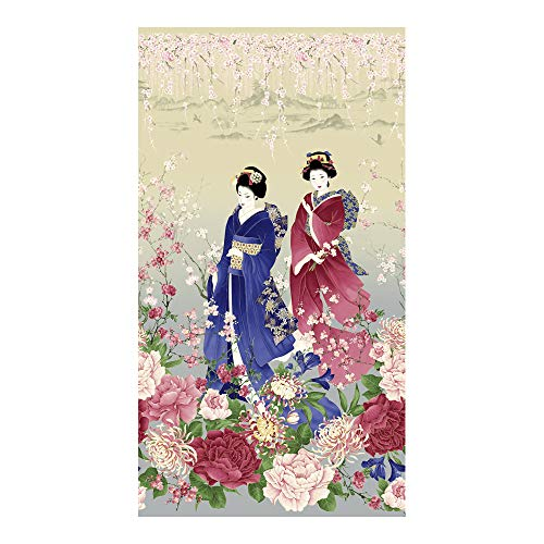 Timeless Treasures 0561295 Metallic Sakura 24in Geisha Panel Stone