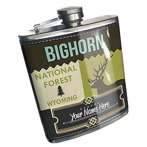 Neonblond Flask National US Forest Bighorn National Forest Custom Name Stainless Steel