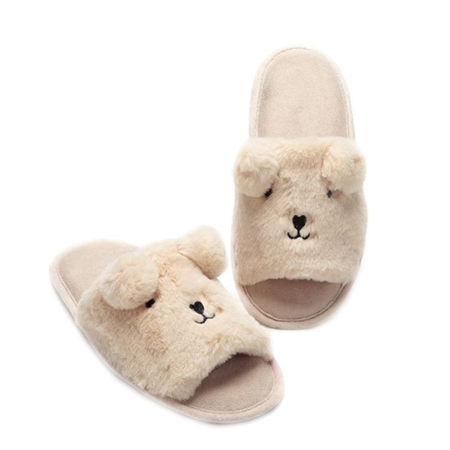 Women's Open-toe Home Slippers Cartoon Bear Warm Plush Soft Sole Indoor Slipper