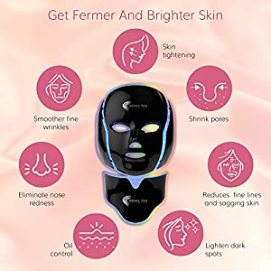 LED Mask for Skin Rejuvenation Light Therapy & Microdermabrasion Facial Mask For Face & Neck - Anti-Aging 7 Color Photon Treatment - Red Light Up Beauty & Skin Care Device for Men & Women… (Black) (Color: Black)