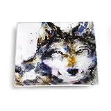 #7: Big Sky Carvers Wolf Snack Plate, Multicolor