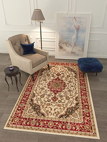 Persian Classic Ivory 6'7'' x 9'6'' Area Rug Oriental Floral Motif Detailed Classic Pattern Antique Living Dining Room Bedroom Hallway Home Office Carpet Easy Clean Traditional Soft Plush Quality