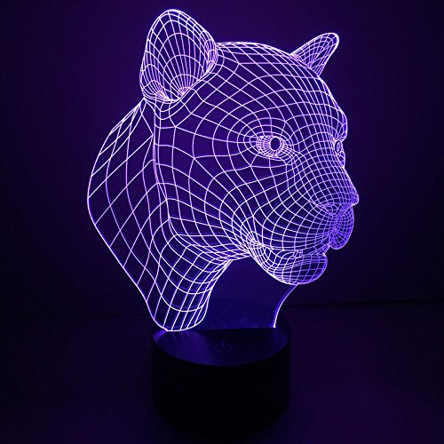 Comics+3D+Night+Lamp+ Products : Leopard Head Desk Table Lamp Touch Switch 3D Led Night Light 7 Colors Change