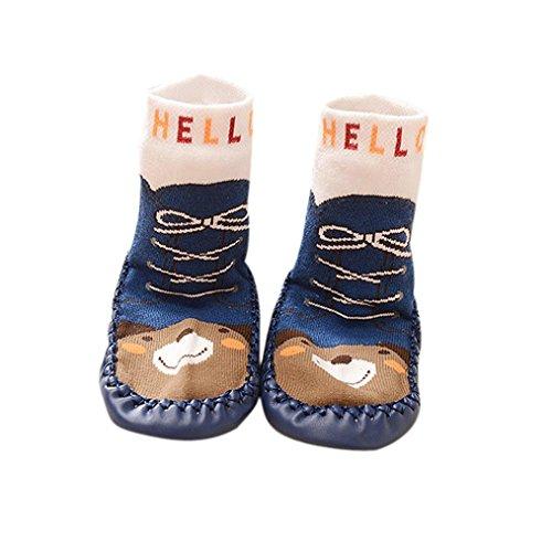 AMA(TM) Cartoon Kids Toddler Baby Anti-slip Sock Boots Slipper Shoes (6-18 months, Dark blue) (Cartoon Cowgirl)