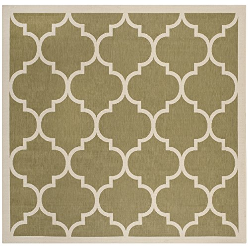 Safavieh Courtyard Collection CY6914-244 Green and Beige Indoor/ Outdoor Square Area Rug (4' Square)