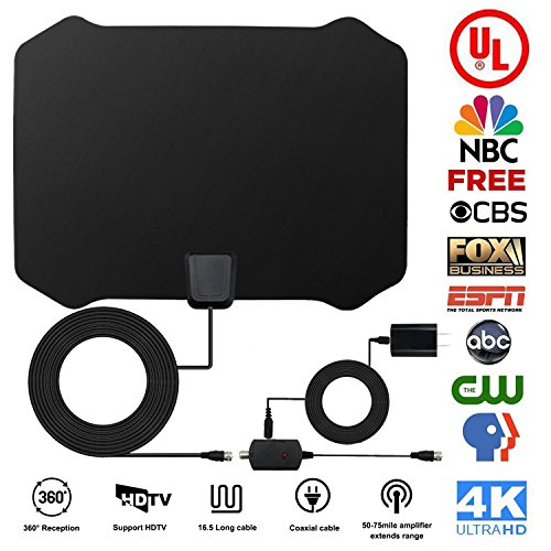 1 Digital Indoor Hdtv Antenna (HDTV Antenna, Indoor Amplified TV Antenna 50 to 75 Mile Range with Creative Adjustable Amplifier Detachable Booster, USB Power Supply and 16.5FT High Performance Coaxial Cable Black Antenna By Aktoog)