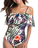 Temptme Off Shoulder One Piece Swimsuits for Women Floral Printed Bathing Suits Flounce Ruffled Padded (Tropical, 2X-Large)