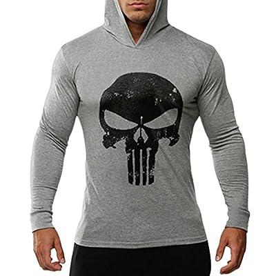 Chen Men's Skull Print Bodybuilding Long Sleeve Hoodies Casual Hooded Sweatshirts Tee Shirts Tops