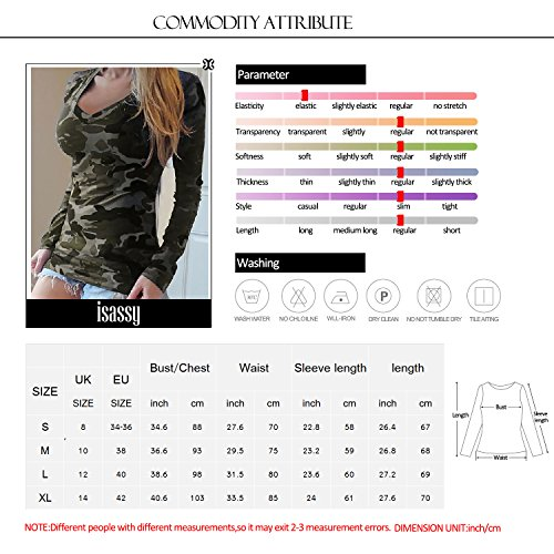 ISASSY - T-shirt Femme Camouflage Manches Longues Top Haut