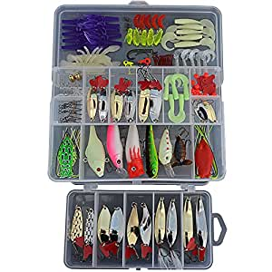 129 pcs fishing lures set kit frogs minnow for Amazon fishing spinners
