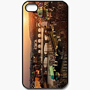 Protective Case Back Cover For iPhone 4 4S Case Czech Republic Prague Old Evening Sunset Black
