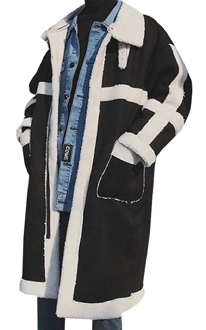 LEISHOP Men's Vintage Sheepskin Jacket Leather Jacket Shearling Coat