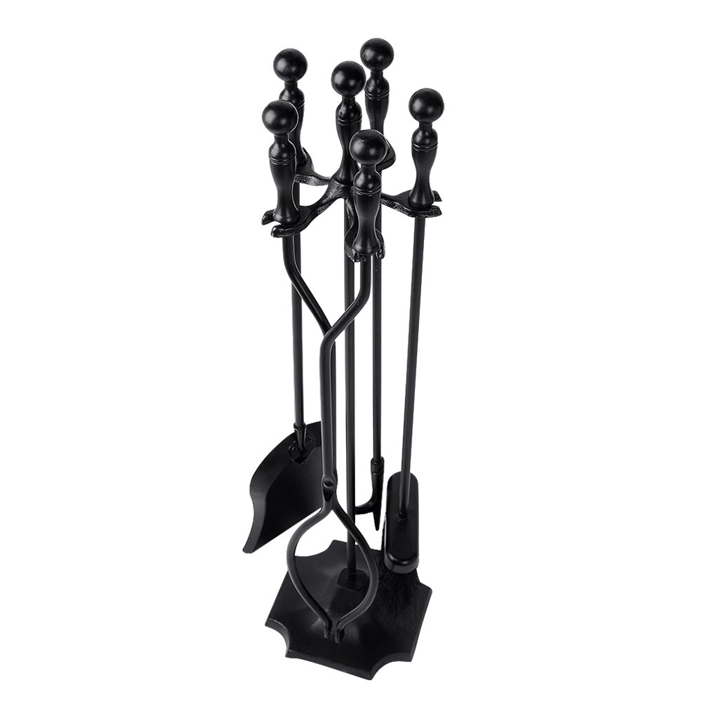amazon com rustic fireplace tools 5 pieces wrought iron tool set