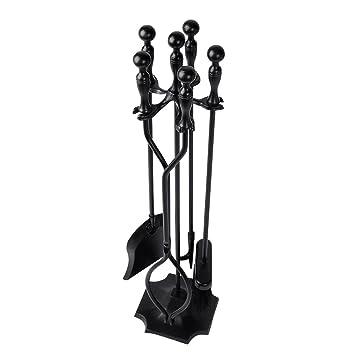 Amazon.com: 5 Pieces Scroll Fireplace Tools Set Black Cast Iron ...