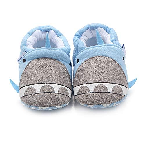 ls Cute Cotton Slippers Anti-Slip Soft Sole Warm Winter Crib Shoes (0-6 Months, Blue Whale) ()