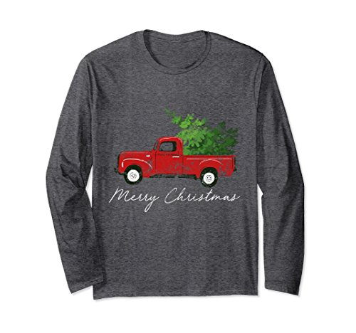 Unisex Vintage Wagon Christmas Long Sleeve Shirt - Tree on Truck 2XL Dark Heather