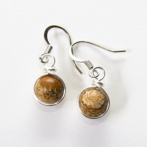 - Tan Jasper Semi Precious Beads Wire Wrapped Dangle Earrings - Handmade Jewelry