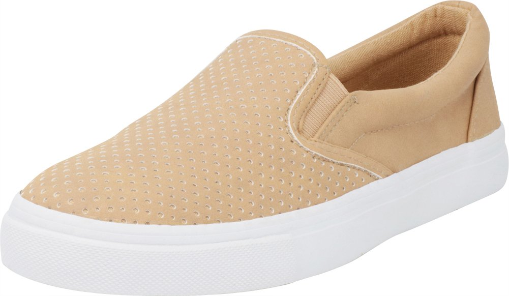 Cambridge Select Women's Slip-On Closed Round Toe Perforated Laser Cutout White Sole Flatform Fashion Sneaker B07F95DQRW 11 B(M) US|Camel Pu/White Sole