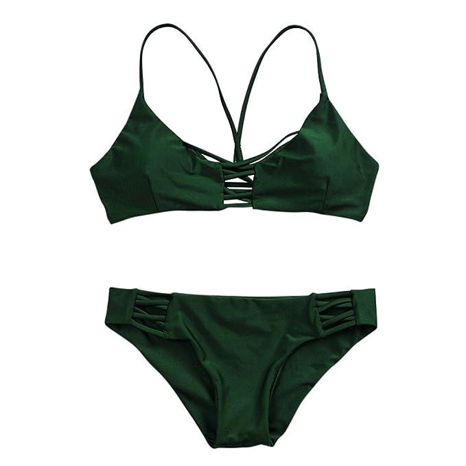 Fossen Bikinis Mujer 2019 Push up con Relleno - Traje de Baño con Cruzar - Estampado Brasileños Bañador Ropa de Playa: Amazon.es: Ropa y accesorios