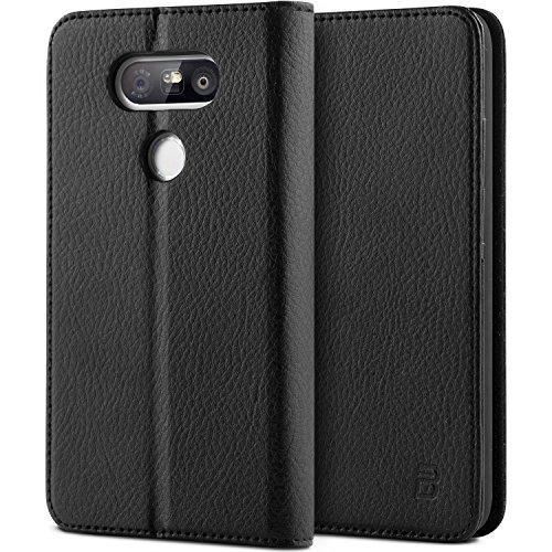 LG G5 Tasche, BEZ® LG G5 Hülle, Schutzhülle Handyhülle aus Kunstleder Flip Cover Taschenhülle mit Kreditkartenhaltern, Standfunktion, Geldbeutel, Magnetverschluss - Schwarz