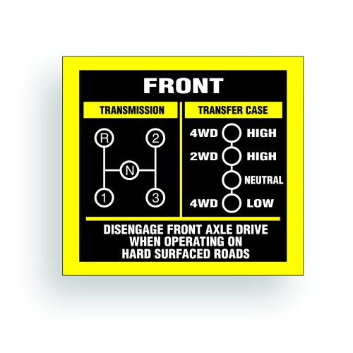 Transmission Shift Pattern Decal - Jeep, Willys Or CJ May Fit Transmission And Transfer Case Models Dana 20, 3 Speed, Single Stick - 3x2.75 inch