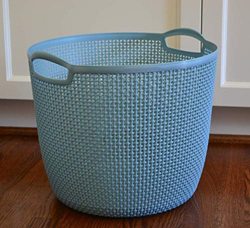 Cascadia Essentials Big Storage Basket with Handles | Made From Recycled Plastic | Great for Organizing Toys, Laundry, Clothes, Blankets | Hamper Bins for Shelves, Nursery, Baby, Dogs, Closet