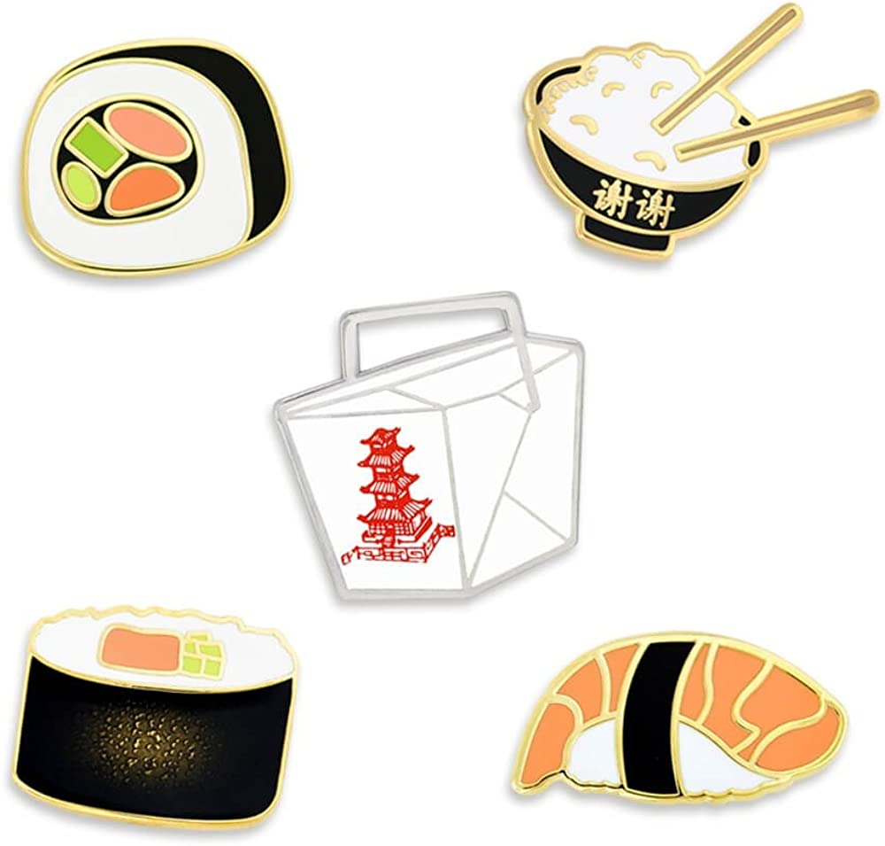 Asian Cuisine Sushi and Chinese Take Out Food Enamel Lapel Pin Set