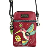Chala Crossbody Cell Phone Purse-Women PU Leather Multicolor Handbag with Adjustable Strap - Hummingbird