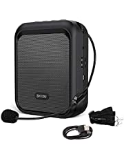 SHIDU Mini Voice Amplifier Portable Rechargeable Bluetooth Speaker with Wired Microphone Headset 10W 1800mAh PA system Supports MP3 Format Audio for Teachers, Taxi Driver, Coaches, Training, Tour Guide.