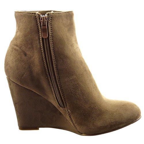 Sopily - Zapatos De Moda Botines - Botas Bajas Mujer Con Flecos Tachonado Tacón De Cuña 9 Cm - Caqui