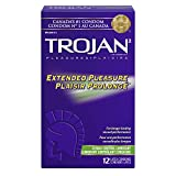 TROJAN Extended Pleasure Latex Condoms with Climax Control Lubricant, 12 Count