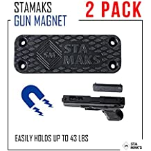 Stamaks Magnetic Gun Mount & Holster For Vehicle and Home - Rubber Coated 43Lbs Safe Storage and Quick Access to Firearm Concealed Holder For Handgun Rifle Shotgun Pistol Revolver Truck Car Wall