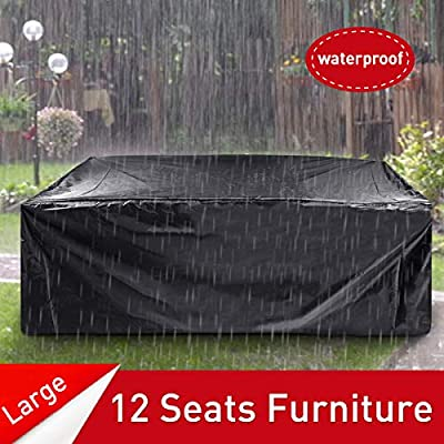 ESSORT Patio Cover, Large Outdoor Sectional Furniture Set Cover, Table Chair Sofa Covers, Waterproof Dust Proof Anti UV/Wind, Protective Cover for Garden Loveseat