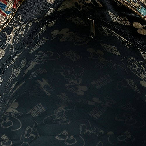 ililily Disney Mickey Maus Flicken Kreuz Körper klassischer Stil Umhängetasche Schulter Tasche Brown