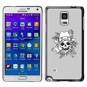 X-ray Impreso colorido protector duro espalda Funda piel de Shell para Samsung Galaxy Note 4 IV / SM-N910F / SM-N910K / SM-N910C / SM-N910W8 / SM-N910U / SM-N910G - Evil Emo Dark Rock Grey Poker
