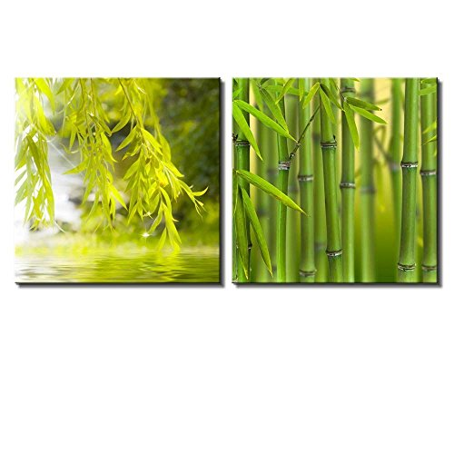 Two Piece Bamboo Branches and Leaves Framing a Lake on 2 Panels