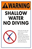 Warning Shallow Water No Diving Sign (Heavy Duty White Aluminum) (12x18)