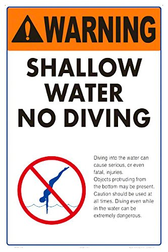 Warning Shallow Water No Diving Sign (Heavy Duty White Aluminum) (12x18) by Aquatic Technology, Inc.