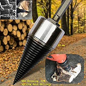 Heavy Wood Drill Bit Firewood Log Splitter U Anti-Skid Thread U Screw Splitting Cone Screw Cone Driver Fire Wood Log Splitter Hex Shank Handle only Shipping From USA,4-9 Working days delivery (42 mm)