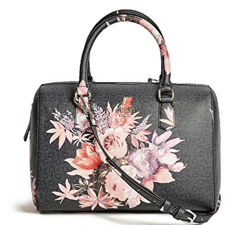 GUESS Womenu2019s Ashville Rose Floral Box Satchel Handbag Tote Bag Purse (Black) U2013 Annau0026#39;s Collection