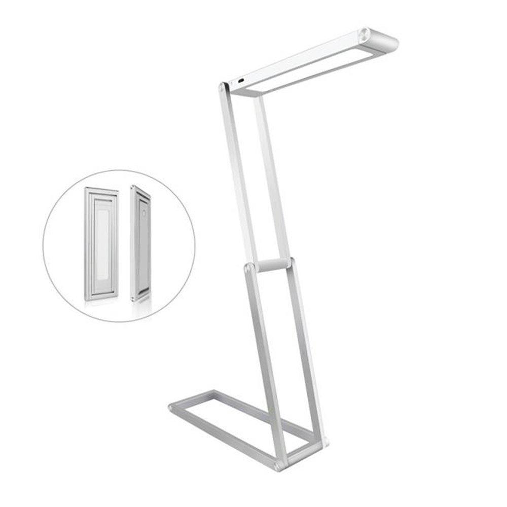 Dimmable Office Desk Lamps, Foldable Eye-Care Reading Lamp, Portable Aluminum Alloy Table Lamp, Rechargeable Reading Lights with Wall Mount for Office/Bedroom/College/Gifts, Silver