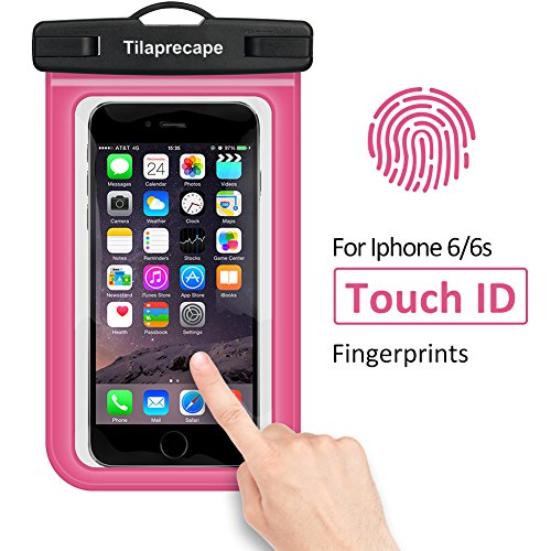 Tilaprecape 100% Waterproof Case With Sensitive PVC Touch Screen, Pink CellPhone Dry Bag Pouch With Super Sealability Technology For Cellphone Up To 6.5 Inches Diagonal