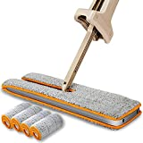 Professional Microfiber Mops for Floor, Ebbott Double Sided Wide Lazy Mop with Self-Wringing Ability for Cleaning Hardwood, Tile, Laminate, Vinyl, Linoleum + 4 pcs Reusable Flat Mop Pads