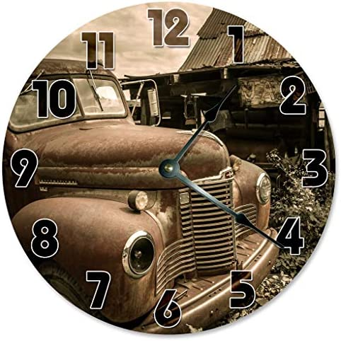 Sugar Vine Art Vintage Retro CAR Clock Large 10.5 Wall Clock Decorative Round Circle Clock Home Decor Garage Clock